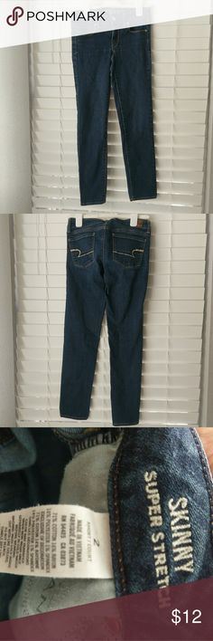 """HOLD American Eagle super skinny stretch jeans Dark wash, super skinny stretch style in short length, which is 27"""" inseam. American Eagle Outfitters Jeans Skinny"""