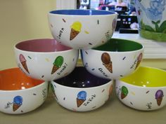 class auction ice cream bowl set with fingerprint ice cream cones by Pottery Piazza---family game night treat bowls School Auction Projects, Class Art Projects, Spring Projects, Classroom Projects, Auction Items, Art Auction, Silent Auction, Teacher Appreciation Gifts, Teacher Gifts