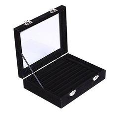 Ivosmart 7 Slots Velvet Glass Ring Jewellery Display Storage Box Tray Case Holder Earring Organizer Stand Black