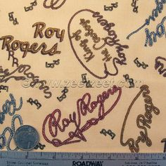 ROY ROGERS Fabric Rope Script Writing Cream Ecru Happy Trails Quilt Fabric
