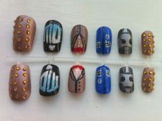 Hand decorated false nails in a Doctor Who theme. These designs include a Dalek, Cyberman, Tardis, the 11th Doctor's iconic outfit and the most recent logo from (new) series 5 onwards.