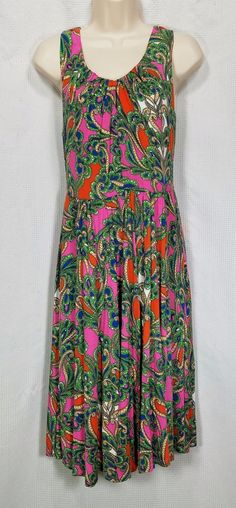 Anthropologie Lilka Seaglass Dress Large Pink Paisley Jersey Soft Sleeveless  #Anthropologie #FitFlare #Casual #Lilka #Boho