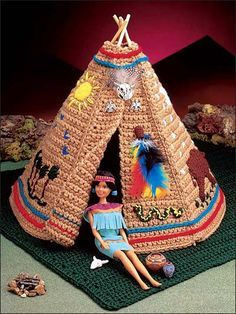 """Crocheted using worsted yarn. Fits 11 1/2"""" fashion doll. Size: Grass Mat: Approx 22"""" x 28"""". Tepee: Approx 16"""" high.Skill Level: Intermediate"""