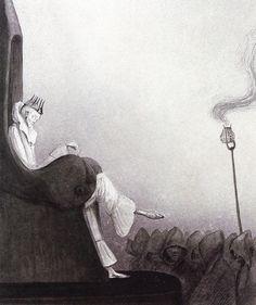 クビーンの絵8「最後の王」(1902頃) 『裏面』に登場する〈夢の国〉の首領パテラに通じるイメージ。(ドイツで出版された『裏面』には、この絵を表紙にしているものもあります)