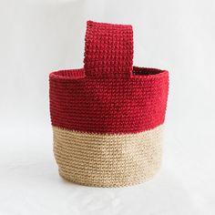 バイカラーのワンハンドルバッグ- 編み物キットオンラインショップ・イトコバコ