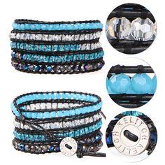 Kelitch Mixing Crystal on Leather 5 Wrap Bracelet Handwoven Bangle Chain Jewelry #Kelitch #BangleBeaded