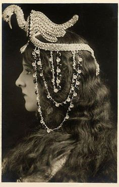 Stage Actress in an Egyptian-style headdress c.1917 via