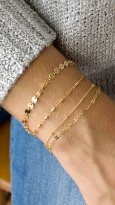 Delicate layering bracelets in 14K gold fill or sterling silver by LEILA Jewelry