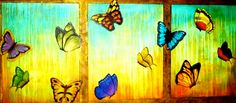 ©Thelma Zambrano - Vuelo Colorido - Técnica mixta sobre lienzo 70 x 160 cm. Colección Privada