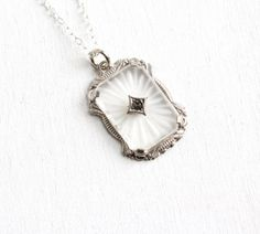 Antique Art Deco Camphor Glass Necklace - Vintage Sterling Silver 1920s 1930s Rhinestone Center Filigree Etched Jewelry