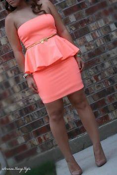 pink puplum bridesmaid dress with belt