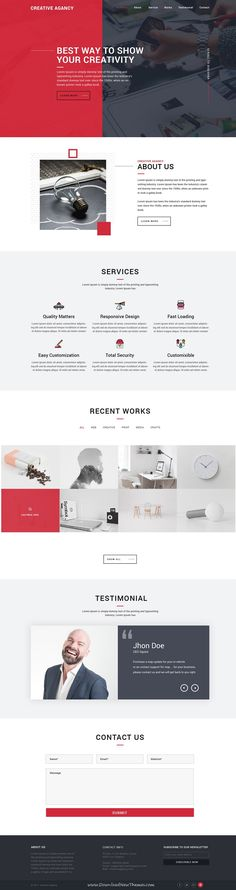 Professional, clean and modern design #PSD template for #onepage creative agency #website to live preview & download click on Visit