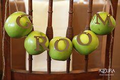 Apple chair drape- Groom Chair Decor from Voila! Wedding Show from Heathoriginal | Azzura Photography