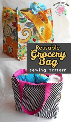 Easy project for beginners as well as confident sewers! The instructions are written for beginners who are comfortable using their sewing machine and can straight stitch. It has a detailed description of each step with photos to show you how to make it. | sewing projects | sewing pattern | sewing tutorial | sewing hacks | grocery bag #Ad