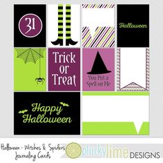 Halloween Witches & Spiders Digital by PluckyLimeDesigns on Etsy