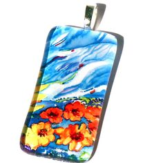 Sunflowers Pendant-Necklace-Original Painting-By Cynthia Van Horne Ehrlich-Wedding-Bridesmaid-Bride-Mother of The Bride-Jewelry Box-Gift by CynthiaVHEhrlich on Etsy