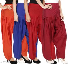 Ethnic Bottomwear - Patiala Pants Women's Solid Cotton Patiala Pant ( Pack of 4 ) Fabric: Cotton Waist Size:  M- 30 in, L- 32 in, XL- 34 in , XXL - 36 in Length: Up to 39 in Type: Stitched Description: It has 4 Pieces Of Patiala Pant Pattern: Solid Sizes Available: Free Size, S, M, L, XL, XXL, XXXL, 4XL *Proof of Safe Delivery! Click to know on Safety Standards of Delivery Partners- https://ltl.sh/y_nZrAV3  Catalog Rating: ★4.2 (5909)  Catalog Name: Eva Women's Solid Cotton Patiala Pants Combo Vol 17 CatalogID_260422 C74-SC1018 Code: 494-1971849-