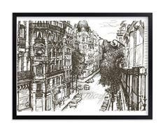 """Brother: """"rue pierre demours"""" - Art Print by pottsdesign in beautiful frame options and a variety of sizes."""
