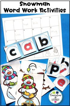 "Students will have ""snow"" much fun building cvc short vowel words with  cute snowmen and snowballs! Students choose a snowman with a picture. Then they record their word on the recording sheet after building it using snowballs in the sound boxes. #phonics #shortvowels #literacycenters #conversationsinliteracy #elementary #kindergarten #firstgrade kindergarten 1st grade"
