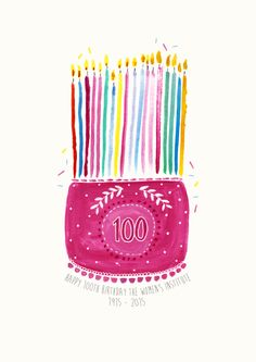 The women's institute birthday cake!  The women's institute turns 100 in 2015 so i have illustrated them a birthday cake! Water colour illustration.