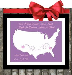 Best Friend Long Distance : Custom Birthday Gift.  Personalized Map Gift For Sister Bestfriend Bff Pink Purple. $21.99, via Etsy.