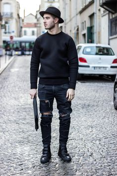 - Neoprene Sweater - Lanoir Ripped Denim - Raf Simons Sneakers Nicolas Lauer