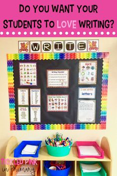 preschool classroom set up Do you want your students to love the writing station? This bundle has everything you need to set up a writing center for the whole year! It will pr Writing Center Kindergarten, First Grade Writing, Teaching First Grade, Teaching Writing, Art Center Preschool, Second Grade Books, Kindergarten Writing Activities, Kindergarten Handwriting, Preschool Decor