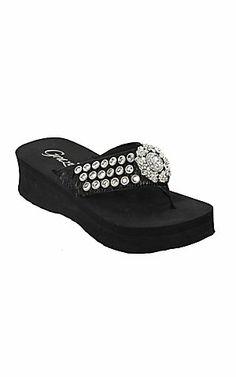Grazie Ladies Passposrt Black Brindle Hair w/ Silver Concho Rhinestone Flip Flops | Cavender's