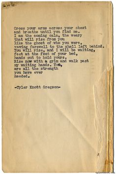 Typewriter Series #1088 by Tyler Knott Gregson*Chasers of the Light, is available through Amazon, Barnes and Noble, IndieBound , Books-A-Million , Paper Source or Anthropologie *
