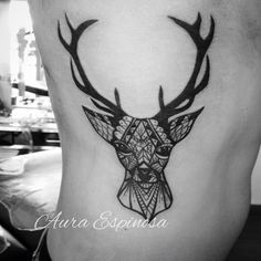 Deer tattoo black line workers. Done by our resident artist Aura Espinosa