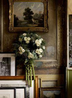 Landscape oil painting, white rose wreath  Bohemian Wornest