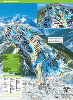 Aspen Mountain Map - Check out our site for more info on Aspen rentals and skiing! http://www.aspendiscountskitickets.com/