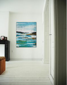 """Large abstract painting - Blue Lake - Acrylic painting - 31,5"""" (80cm) x 39,4""""(100cm) on Etsy, $299.00"""