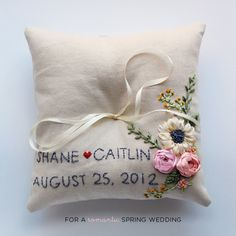 Embroidered personalized ring pillow