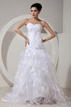 Classic Shallow Sweetheart Neckline A-line Full Length Organza Bridal Dresses With Ruffled Ruched Wedding Dress, Wedding Dress Necklines, Wedding Flower Girl Dresses, Wedding Dresses 2014, Affordable Wedding Dresses, Classic Wedding Dress, Cheap Prom Dresses, Cheap Wedding Dress, Bridal Dresses