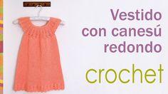 Vestido con canesú redondo tejido a crochet para niñas / Crocheted roun...