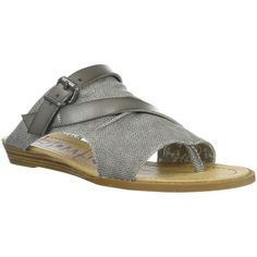 Blowfish Women's Barria Belted Sandal Steel Grey Rancher - 6 M Women's... (310 NOK) ❤ liked on Polyvore featuring shoes, sandals, grey, grey wedge sandals, wedge shoes, toe thongs, wedge thong sandals and grey sandals