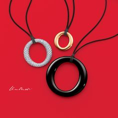 Elsa Peretti® Sevillana™ pendants on black silk cords. #ElsaPeretti #TiffanyPinterest #TiffanyAndCo #Necklaces