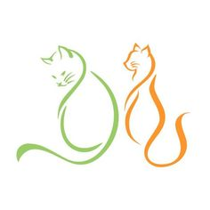 Cat Silhouette Tattoos, Silhouette Art, Kittens Cutest, Cats And Kittens, Single Line Drawing, Doodle Tattoo, Cutting Tables, Clip Art, Craft Stick Crafts
