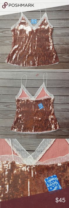 Free People Rosegold Sequin Tank Top Free People Party Top Rosetone, Rosegold Sequins  Perfect for a party or NYE! Free People Tops Tank Tops