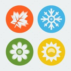 Vector Four Seasons Icons Set (JPG Image, Vector EPS, CS, 4167x4167, autumn, blue, cold, color, concept, design, element, environment, fall, flower, four, green, hot, icon, illustration, leaf, nature, sign, snow, snowflake, spring, summer, sun, symbol, time, vector, warm, winter, year, yellow)