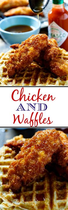 and Waffles Chicken and Waffles topped with a TABASCO Maple syrup. The perfect combo of sweet, savory, and spicy!Chicken and Waffles topped with a TABASCO Maple syrup. The perfect combo of sweet, savory, and spicy! Keto Galletas, Waffle Iron Recipes, Brunch, Waffle Toppings, Love Food, The Best, Chicken Recipes, Spicy Chicken And Waffles Recipe, Food To Make