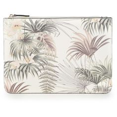 Warehouse Palm Print Pouch ($14) ❤ liked on Polyvore featuring bags, handbags, clutches, purses, cream, hand bags, faux-leather handbags, zipper handbag, zipper pouch and vegan handbags