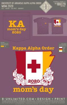 Kappa Alpha Order Mom's Day Shirt | Fraternity Event | Greek Event #kappaalphaorder #kappaalpha #theorder #ka #arkansas Kappa Alpha Order, University Of Arkansas, Dad Day, Fraternity, All Design, Order Prints, Pride, Greek, Dads