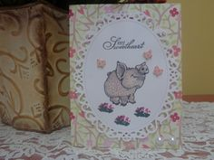 """Whimsical smiling piggy / butterflies """"my Sweetheart"""" greeting card by LuvinItCREATIONS on Etsy"""