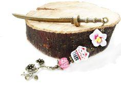 Metal hair stick - japanese festival style pink hair pin Maneki Neko with fan - Lucky Cat - Fortune Cat - hair ornament - sticks to choose