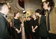 The Duchess meets with Harry Styles, Zayne Malik, and Niall Horan, Louis Tomlinson, and Liam Payne of One Direction at the Royal Variety Performance