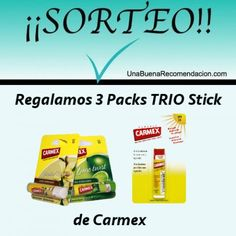 REGALAMOS 3 PACKS TRIO STICK DE CARMEX