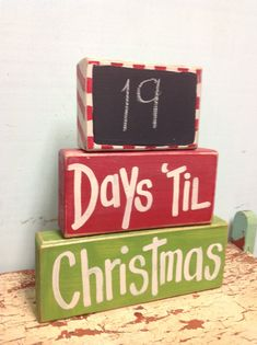 Days Til Christmas Chalkboard Chunky Block Set Wood Sign Countdown