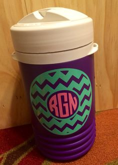 1 quart igloo water jug with monogram by DixieDoorDecor on Etsy, $18.99